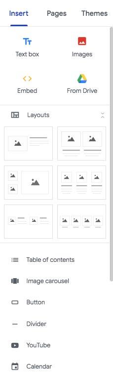 Google Sites отзывы: интерфейс и меню GS.