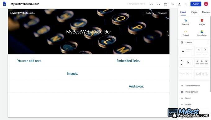 Google Sites отзывы: экран главной страницы GS.
